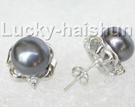 13mm black pearls Earrings Platinum Plated Stud j8887