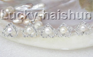 5piece adjustable heart-shaped round white pearls zircon Rings j8853