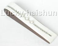 "7.5"" 9.5mm round white FW pearls white zircon bracelet bangle 18KGP j8845"