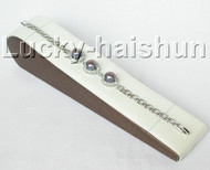 "7.5"" 9.5mm round black freshwater pearl white zircon bracelet bangle 18KGP j8843"
