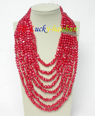 "17""-24"" 8row baroque red pearls necklace 925 silver clasp j8781"
