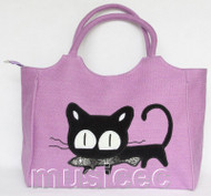 "16X11"" flax embroider purple handbag bag purses T896A70"