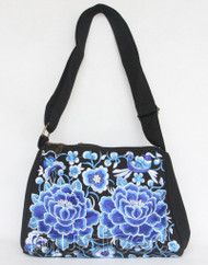 "11X8"" black Denim embroider blue flower handbag bag purses T895A90"