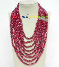 "17""-24"" 8row baroque wine red pearls necklace 925 silver clasp j8752"