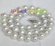 "natural 18"" 11mm round white pearls necklace 925 silver clasp j8723"
