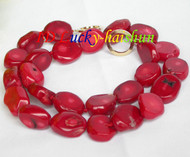 """natural 19"""" 18mm baroque red coral necklace filled gold clasp j8721"""