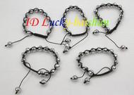 """adjustable 5 piece 7-10"""" 10mm white crystal bangle bracelet j8675"""