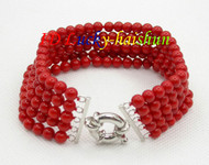 "Genuine 5row 8"" round red coral beads Bracelet j8672"