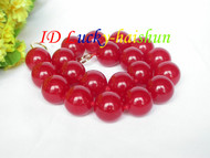 "AAA natural 18"" 20mm round red jade bead necklace filled gold clasp j8653"