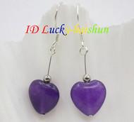 AAA 12mm heart-shape purple amethyst beads Earrings 925 silver hook j8638