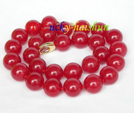 "AAA natural 17.5"" 14mm round red jade bead necklace filled gold clasp j8630"