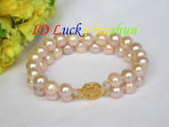 "natural 8"" 10mm 2row round pink freshwater pearls bracelet j8620"