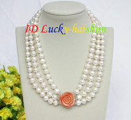 "natural 17"" 10mm 3row round white pearls necklace 925 silver clasp j8618"