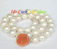 "natural 18"" 14mm round white pearls necklace 925 silver coral clasp j8617"