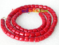 """Genuine length 29"""" 10mm column red coral beads necklace j8611"""
