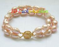 "8"" 2row 12mm baroque pink freshwater pearls bracelet j8603"