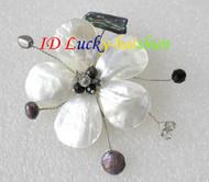"3"" baroque Flower white seashell black pearls crystal Brooch j8580"