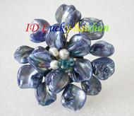 "3"" baroque Flower blue seashell white pearls crystal Brooch j8579"