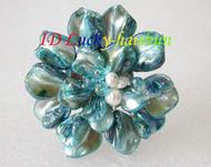 "3"" baroque Flower sky blue seashell white pearls crystal Brooch j8574"