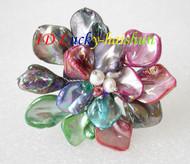 "3"" baroque Flower Multicolor seashell white pearls crystal Brooch j8573"