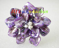 "3"" baroque handcraft Flower purple seashell white pearls crystal Brooch j8570"