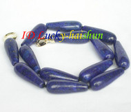 "natural 17"" Dangle 10*30mm drip lapis lazuli necklace filled gold clasp j8543"