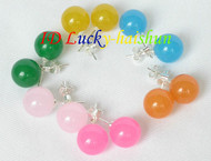 10mm 6piece MIX yellow green blue pink jade earrings 925sc Stud j8397