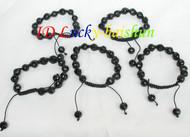 """adjustable faceted 5pcs 7-10"""" 10mm baroque black agate bangle bracelet j8337"""