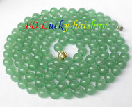 """length Natural 53"""" 10mm round green jade bead necklace  magnet clasp j8335"""