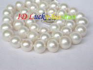 "18"" 11mm natural round white freshwater pearls necklace 925s clasp j8325"