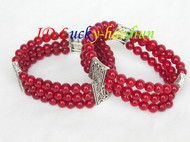 stretchy! 3row 2piece red round coral bracelet springy J8303