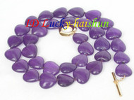 12mm heart-shape purple amethyst beads necklace j8301