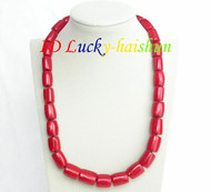 """Genuine length 22"""" 18mm column red coral beads necklace j8296"""