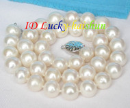 Genuine 12mm round white freshwater pearls necklace 925 silver clasp j8190