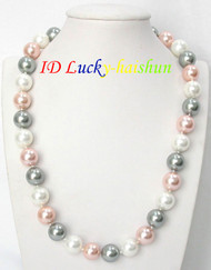 "18"" 12mm round Multicolor white pink Gray south sea shell pearls necklace J8142"