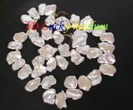 "Genuine 18"" 20mm baroque white reborn keshi pearls necklace j8073"