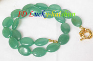 Genuine 13*18mm ellipse healthy green jade bead necklace j8067
