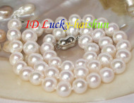 "luster 17"" 10mm round white freshwater pearls necklace 18KGP j8066"