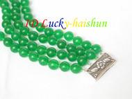 "8"" 8mm 4row round healthy green jade bead Bracelet 925 silver clasp j8045"