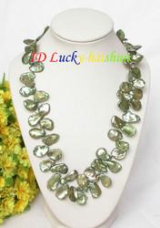 """AAA 18"""" 18mm baroque green KESHI REBORN pearls necklace j8041"""