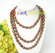 "Genuine 48"" 12mm rice coffee freshwater pearls necklace 18KGP clasp j7943"