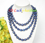 """Genuine 48"""" 12mm rice navy blue freshwater pearls necklace 18KGP clasp j7942"""