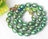 "12mm Genuine green rice freshwater pearls necklace magnet clasp 16"" j7931"