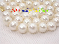 """Genuine 17"""" 11mm round white freshwater pearls necklace 14K clasp j7867"""