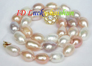 14mm rice white pink purple Multicolor pearls necklace gold plated clasp j7825