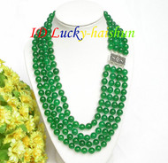 "17"" 8mm 4row round healthy green jade bead necklace 925 silver clasp j7818"
