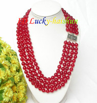 "17"" 8mm 4row round sanguine red jade bead necklace 925 silver clasp j7817"