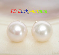 AAA Natural 8mm perfect round white pearls Earring 14K solid gold post j7777