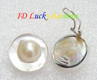 natural 23mm Clip-on white South Sea Mabe Pearls Earrings 925sc GIFT j7776