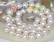 Natural 12mm white pearls necklace 925ss clasp j7681